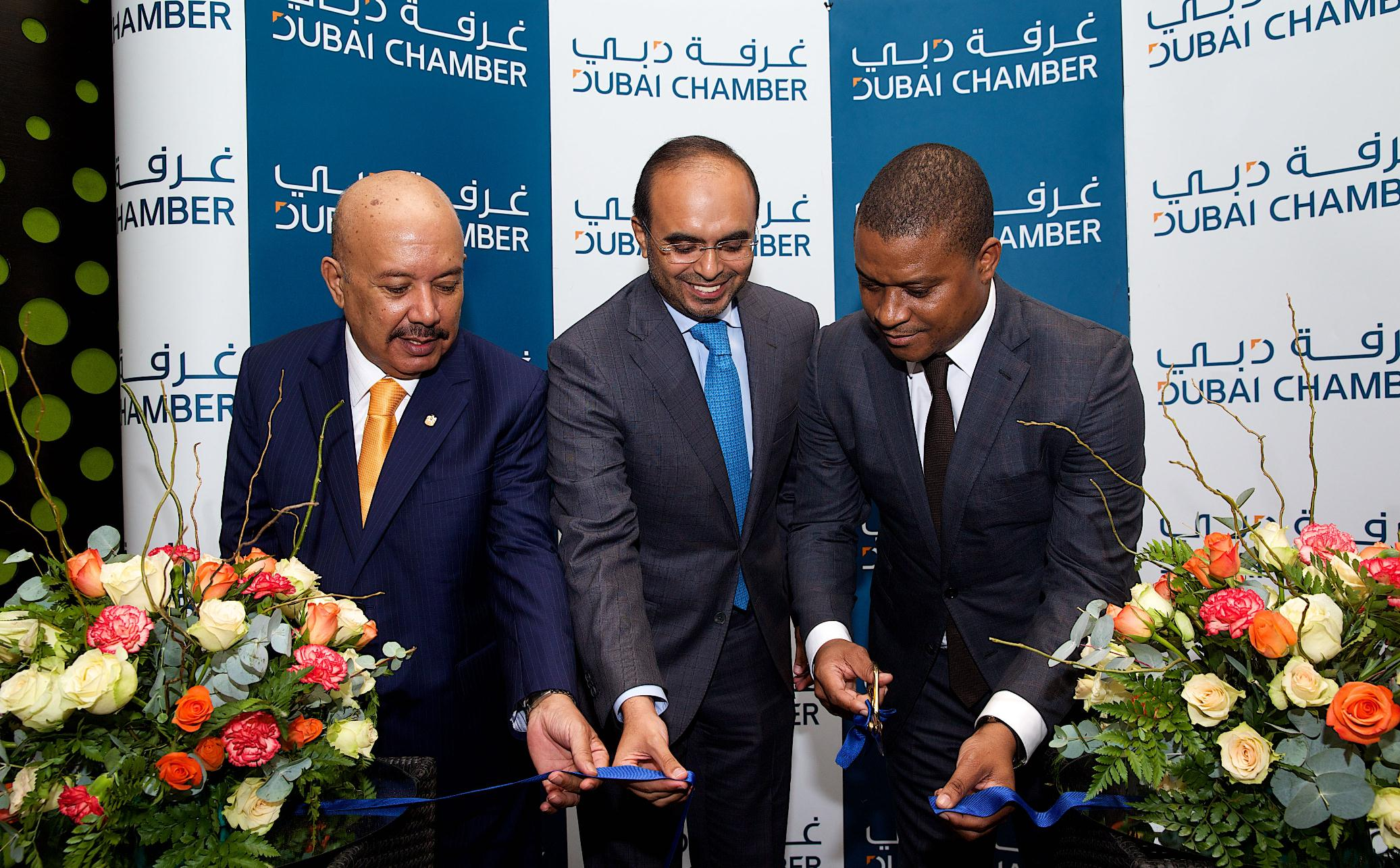 Left to right Office Opening H.E. Asim Mirza Al Rahmah UAE Ambassador to Mozambique e H.E. Majid Saif Al Ghurair Chairman Dubai Chamber H.E. Ernesto Max Tonela Minister of industry and trade